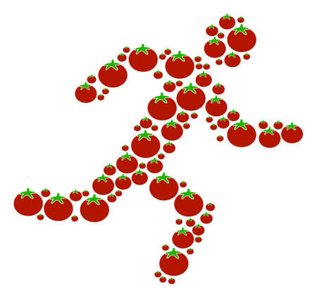 Running Man composition of tomato in different sizes. A Vector tomato objects are composed into running man mosaic.