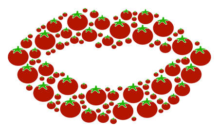Sexy Lips collage of tomato in different sizes. Vector tomato vegetable symbols are organized into sexy lips figure. Diet vector design concept.