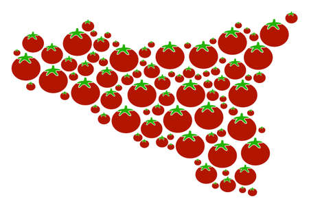 Sicilia Map mosaic of tomatoes in different sizes. Vector tomato vegetable items are composed into sicilia map collage. Vegan vector design concept.
