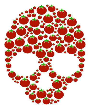 Skull composition of tomatoes in various sizes. Vector tomatoes elements are organized into skull mosaic. Salad vector design concept. Illustration