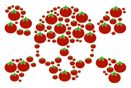 Skull Crossbones collage of tomato in variable sizes. Vector tomato vegetable symbols are organized into skull crossbones illustration. Tomatoes vector illustration. Illustration