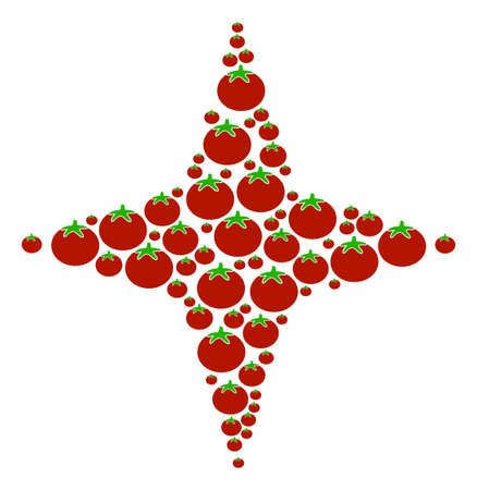 Space Star composition of tomato in variable sizes. A Vector tomato items are united into space star collage. Illustration
