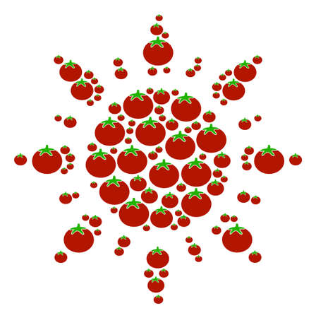 Sun mosaic of tomato vegetables in different sizes. Vector tomato elements are united into sun pattern. Vegan vector illustration.