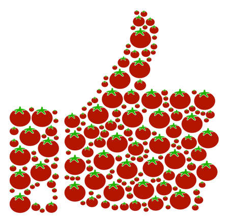 Thumb Up mosaic of tomatoes in various sizes. A Vector tomato elements are united into thumb up collage. Illustration