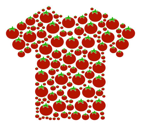 T-Shirt mosaic of tomato vegetables in variable sizes. Vector tomato vegetable elements are grouped into t-shirt collage. Salad vector illustration.
