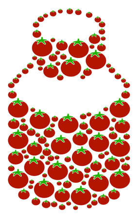 Vial collage of tomatoes in various sizes. Vector tomato vegetable items are composed into vial mosaic. Healthy vector illustration.