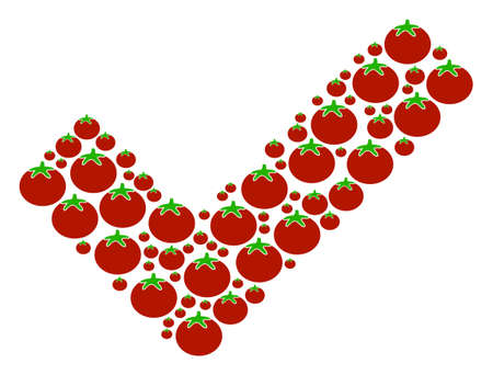 Yes mosaic of tomatoes in different sizes. Vector tomatoes symbols are composed into yes figure. Healthy vector illustration. Illustration