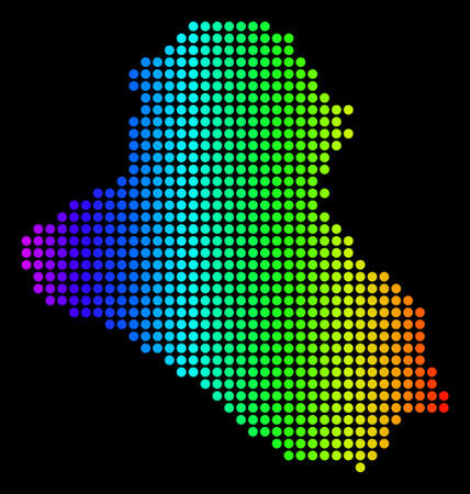 Dotted pixel Iraq Map. Vector geographic map in bright spectrum colors on a black background. Multicolored vector concept of Iraq Map organized of dots.