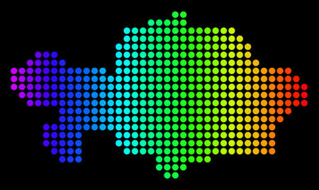 Dotted pixelated Kazakhstan Map. Vector geographic map in bright spectrum colors on a black background. Colored vector mosaic of Kazakhstan Map designed of circle elements. Çizim