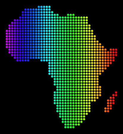 Dotted pixel Africa Map. Vector geographic map in bright spectrum colors on a black background. Colorful vector pattern of Africa Map composed of round dots.