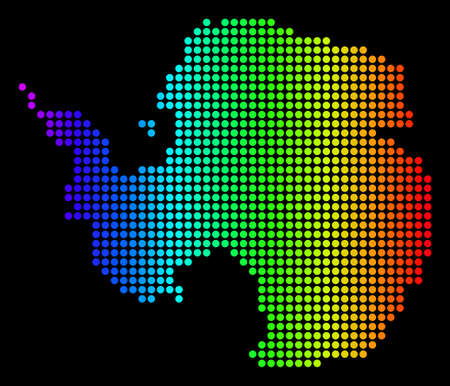 Dotted pixelated Antarctica Map. Vector geographic map in bright spectrum colors on a black background. Multicolored vector composition of Antarctica Map composed of round dots.