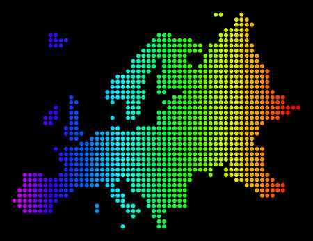 Dotted pixel Europe Map. Vector geographic map in bright spectrum colors on a black background. Colored vector pattern of Europe Map composed of round dots.