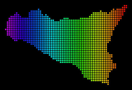 Dotted pixelated Sicilia Map. Vector geographic map in bright spectrum colors on a black background. Colorful vector pattern of Sicilia Map combined of dot elements.