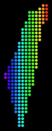 Dotted pixel Israel Map. Vector geographic map in bright spectrum colors on a black background. Multicolored vector pattern of Israel Map made of dots.