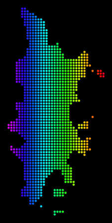 Dotted pixel Phuket Map. Vector geographic map in bright spectrum colors on a black background. Colored vector composition of Phuket Map created of small circles.
