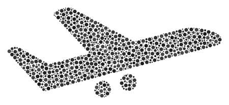 Aiplane collage of circle dots in various sizes and color tones. Circle elements are combined into aiplane vector composition. Dotted vector illustration.