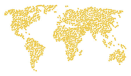 Global world pattern map organized of wheat seed design elements. Vector wheat seed scattered flat elements are organized into geometric continent scheme.