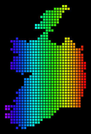 Spectrum dotted Ireland Republic Map. Vector geographic map in bright colors on a black background. Color vector pattern of Ireland Republic Map constructed of small squares.