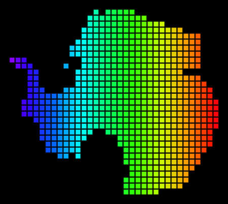 Spectrum dotted Antarctica Map. Vector geographic map in bright colors on a black background. Multicolored vector concept of Antarctica Map composed of dots. Ilustrace