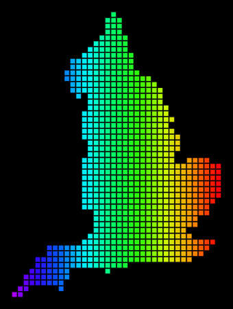 Spectrum dotted England Map. Vector geographic map in bright colors on a black background. Color vector composition of England Map organized of dots.