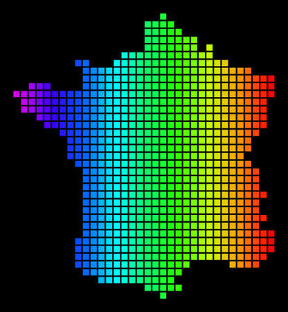 Spectrum dotted France Map. Vector geographic map in bright colors on a black background. Colorful vector mosaic of France Map designed of dot elements.