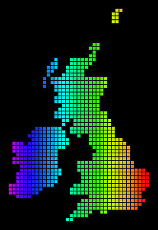 Spectrum dotted Great Britain And Ireland Map. Vector geographic map in bright colors on a black background. Color vector pattern of Great Britain And Ireland Map done of small squares.