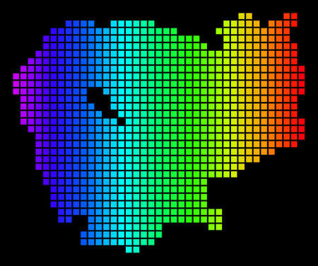 Spectrum dotted Cambodia Map. Vector geographic map in bright colors on a black background. Colorful vector concept of Cambodia Map constructed of dot elements.