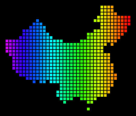 Spectrum dotted China Map. Vector geographic map in bright colors on a black background. Colorful vector pattern of China Map made of dot elements.