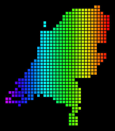 Spectrum dotted Netherlands Map. Vector geographic map in bright colors on a black background. Colorful vector collage of Netherlands Map constructed of square dots. Illustration
