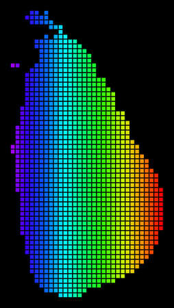 Spectrum dotted Sri Lanka Island Map. Vector geographic map in bright colors on a black background. Multicolored vector concept of Sri Lanka Island Map done of square elements.