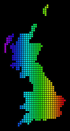 Spectrum dotted Great Britain Map. Vector geographic map in bright colors on a black background. Color vector collage of Great Britain Map composed of small squares.