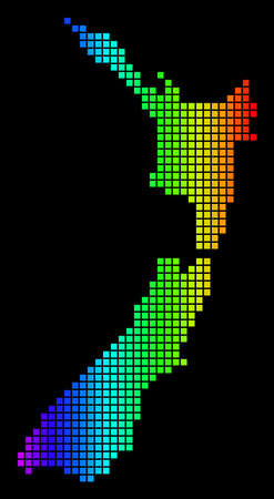 Spectrum dotted New Zealand Map. Vector geographic map in bright colors on a black background. Colorful vector pattern of New Zealand Map combined of square elements.