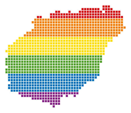 A pixel LGBT pride Hainan Island Map for lesbians, gays, bisexuals, and transgenders. Vector homosexual tolerance geographic map in LGBT flag colors on a white background.