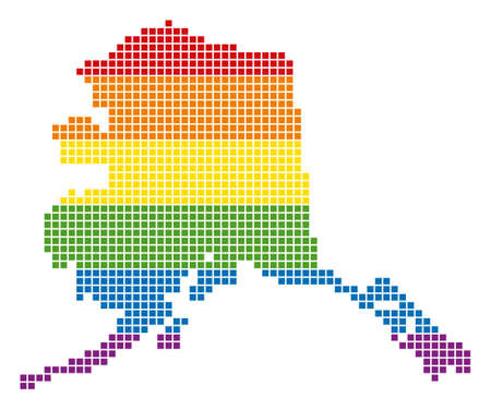A pixel LGBT pride Alaska Map for lesbians, gays, bisexuals, and transgenders. Vector homosexual tolerance geographic map in LGBT flag colors on a white background. Illustration