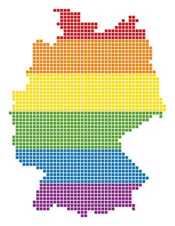 A pixel LGBT pride Germany Map for lesbians, gays, bisexuals, and transgenders. Vector homosexual tolerance geographic map in LGBT flag colors on a white background.