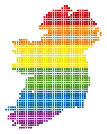 A pixel LGBT pride Ireland Map for lesbians, gays, bisexuals, and transgenders. Vector homosexual tolerance geographic map in LGBT flag colors on a white background.