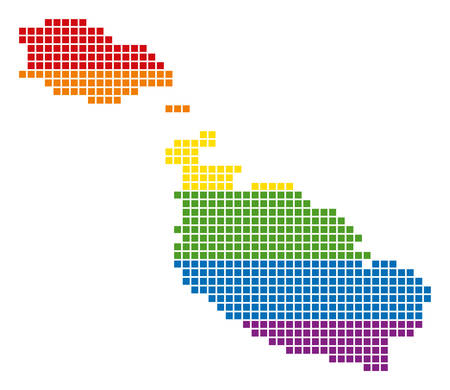 A pixel LGBT pride Malta Island Map for lesbians, gays, bisexuals, and transgenders. Vector homosexual tolerance geographic map in LGBT flag colors on a white background.