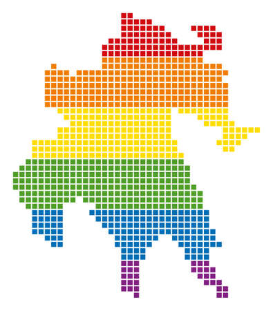 A pixel LGBT pride Peloponnese Half-Island Map for lesbians, gays, bisexuals, and transgenders. Vector homosexual tolerance geographic map in LGBT flag colors on a white background.
