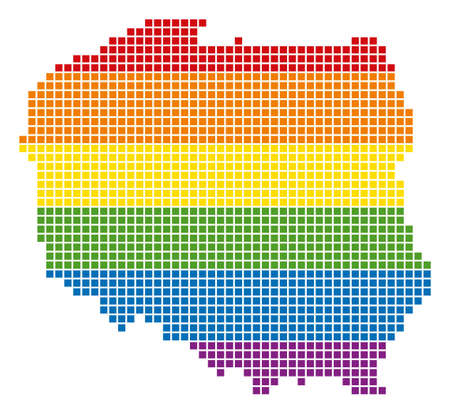 A pixel LGBT pride Poland Map for lesbians, gays, bisexuals, and transgenders. Vector homosexual tolerance geographic map in LGBT flag colors on a white background.