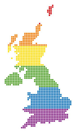 A pixel LGBT pride United Kingdom Map for lesbians, gays, bisexuals, and transgenders. Vector homosexual tolerance geographic map in LGBT flag colors on a white background.