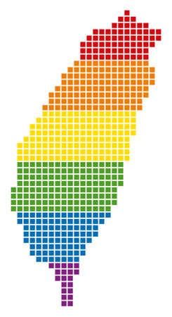 Une carte pixel LGBT de l'île de Taiwan pour les lesbiennes, les gays, les bisexuels et les transgenres. Carte géographique de tolérance de vecteur dans les couleurs du drapeau LGBT sur fond blanc.