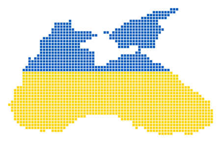 A dotted pixel Black Sea Map. Vector geographic map in Ukraine flag colors on a white background. Ukrainian blue and yellow colored vector abstract mosaic of Black Sea Map composed of square dots.