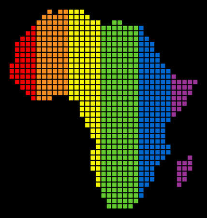 A dotted LGBT pride Africa Map for lesbians, gays, bisexuals, and transgenders. Colorful vector abstract composition of Africa Map composed of rounded square pixels.