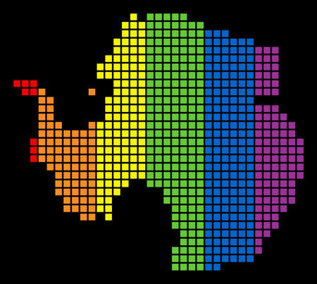 A dotted LGBT pride Antarctica Map for lesbians, gays, bisexuals, and transgenders. Rainbow vector abstract collage of Antarctica Map created of rounded square dots.