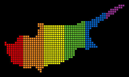 A dotted LGBT pride Cyprus Map for lesbians, gays, bisexuals, and transgenders. Colorful vector abstract composition of Cyprus Map created of rounded square pixels.
