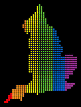A dotted LGBT pride England Map for lesbians, gays, bisexuals, and transgenders. Colored vector abstract collage of England Map composed of rounded square items.