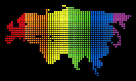 A dotted LGBT pride Europe And Asia Map for lesbians, gays, bisexuals, and transgenders. Spectrum vector abstract mosaic of Europe And Asia Map created of rounded square dots.