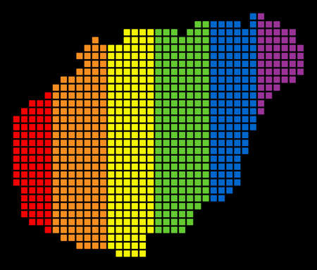 A dotted LGBT pride Hainan Island Map for lesbians, gays, bisexuals, and transgenders. Colorful vector abstract mosaic of Hainan Island Map composed of rounded square dots. Illustration