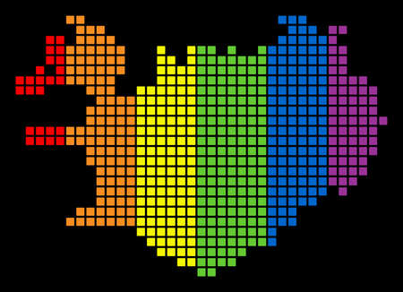 A dotted LGBT pride Iceland Map for lesbians, gays, bisexuals, and transgenders. Color vector abstract mosaic of Iceland Map designed of rounded square pixels.