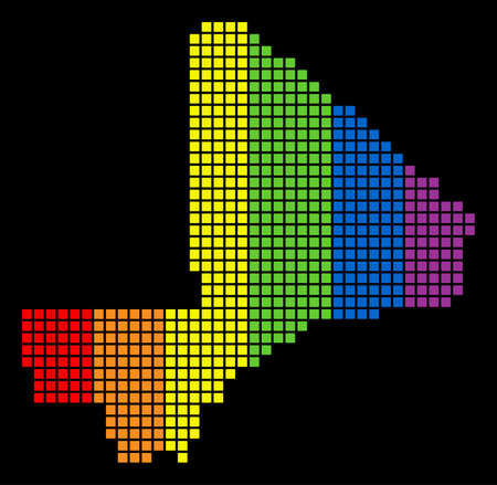 A dotted LGBT pride Mali Map for lesbians, gays, bisexuals, and transgenders. Multicolored vector abstract mosaic of Mali Map made of rounded square pixels. Illustration